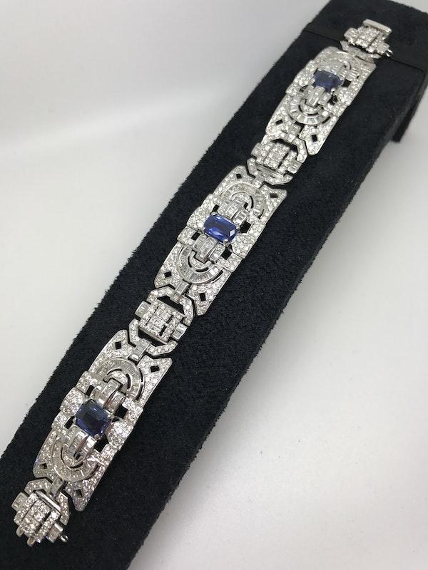 18K white gold 6.00ct Natural Blue Sapphire and 11.00ct Diamond Bracelet - image 1