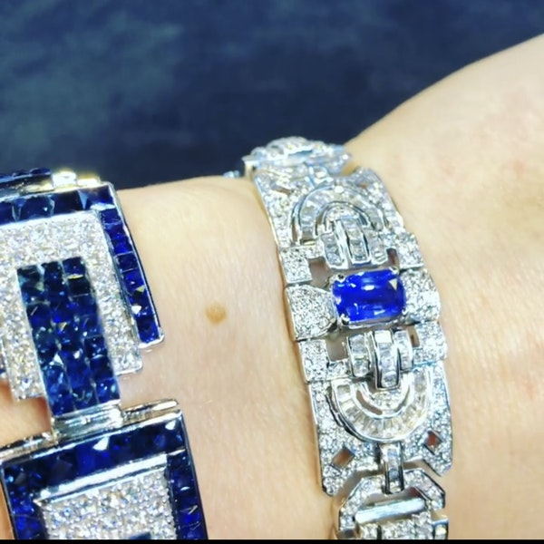 18K white gold 6.00ct Natural Blue Sapphire and 11.00ct Diamond Bracelet - image 2