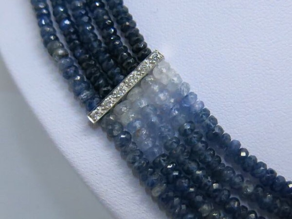 18K white gold 275.00ct Natural Blue Sapphire and 1.25ct Diamond Necklace - image 2