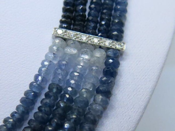 18K white gold 275.00ct Natural Blue Sapphire and 1.25ct Diamond Necklace - image 3