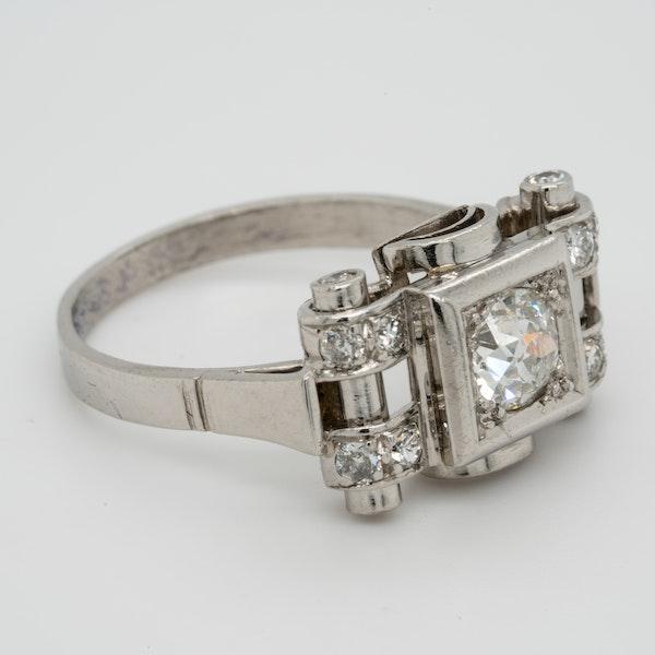 Art deco diamond engagement ring  DBGEMS - image 3