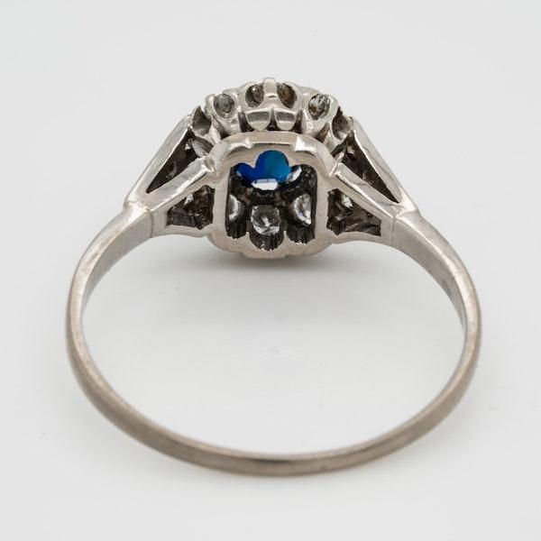 Art deco sapphire and diamond engagement ring  DBGEMS - image 3