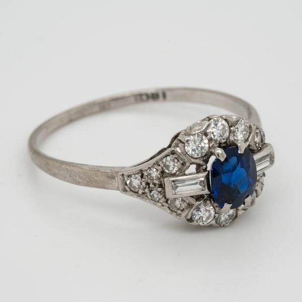 Art deco sapphire and diamond engagement ring  DBGEMS - image 2