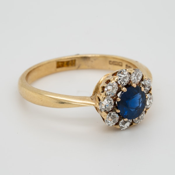 Antique Sapphire and Diamond Cluster Engagement Ring  DBGEMS - image 2