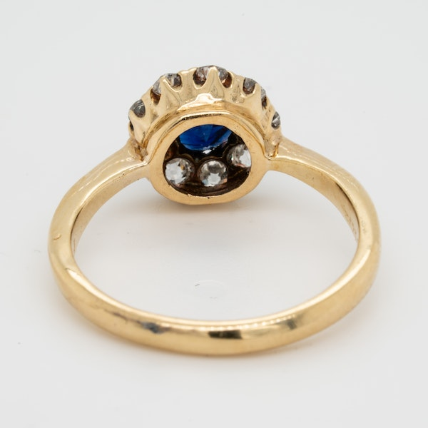 Antique Sapphire and Diamond Cluster Engagement Ring  DBGEMS - image 3
