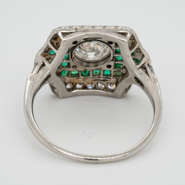 Art deco emerald and diamond engagement ring  DBGEMS - image 3