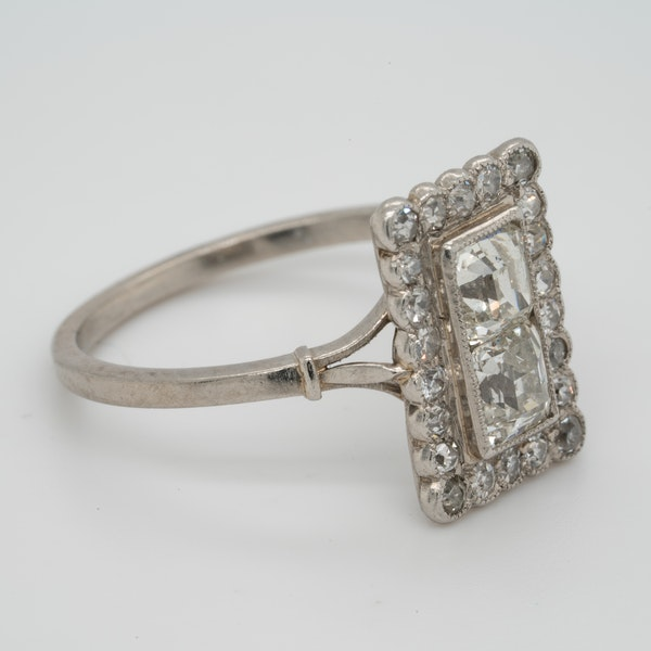 Art deco square cushion cut diamond ring  DBGEMS - image 2