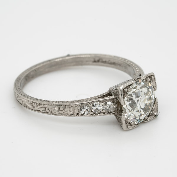 Art Deco Geometric Diamond Engagement Ring  DBGEMS - image 2
