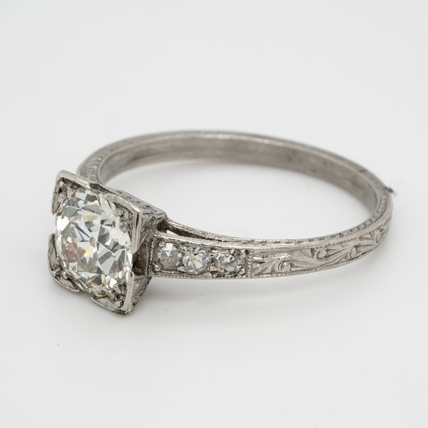 Art Deco Geometric Diamond Engagement Ring  DBGEMS - image 3