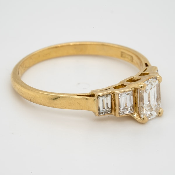 Geometric Emerald Cut Diamond Ring - image 2
