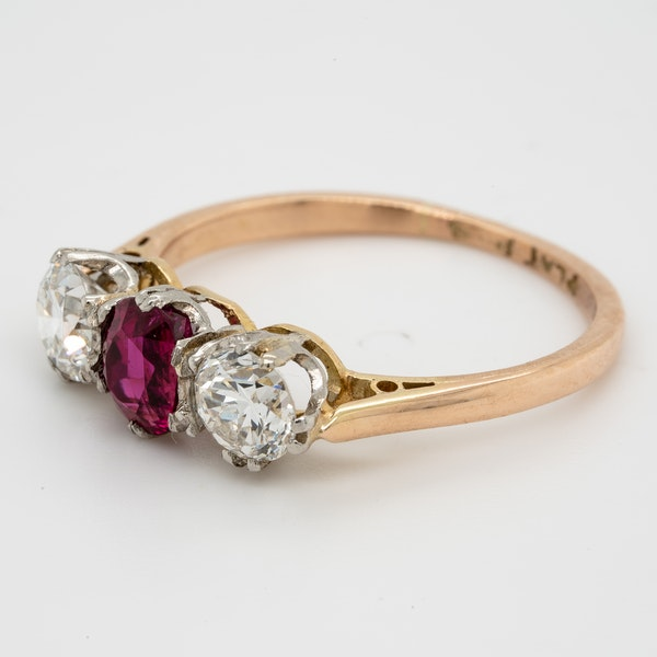 19th century gem quality ruby and diamond three stone engagement ring - image 3