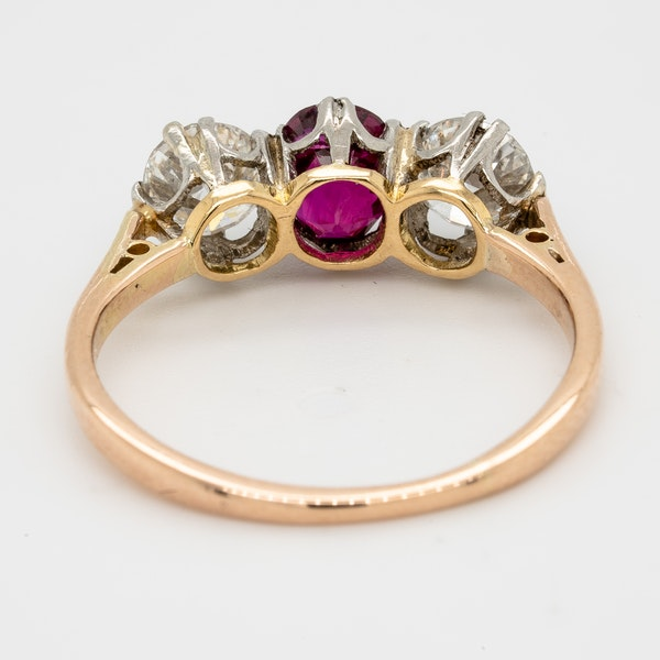 19th century gem quality ruby and diamond three stone engagement ring - image 4