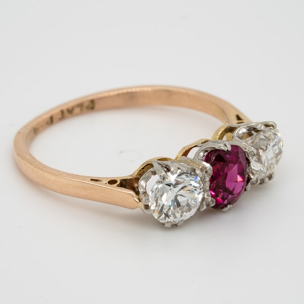19th century gem quality ruby and diamond three stone engagement ring - image 2