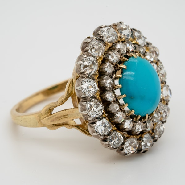 Antique Turquoise and diamond cluster ring  DBGEMS - image 2