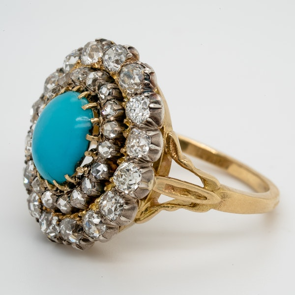 Antique Turquoise and diamond cluster ring  DBGEMS - image 4