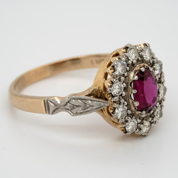 Edwardian Siam Ruby and Diamond Cluster Ring - image 2