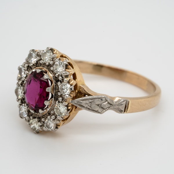 Edwardian Siam Ruby and Diamond Cluster Ring - image 4