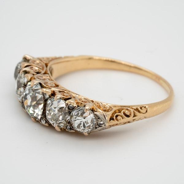 Antique five stone diamond carved half hoop  DBGEMS engagement ring - image 2