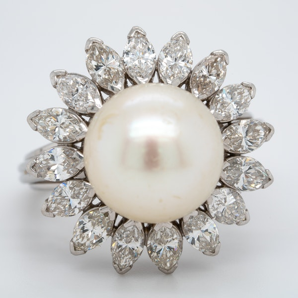 Pearl and Diamond Ring - image 1