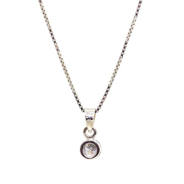 Diamond Solitaire Rub Over Pendant. S.Greenstein - image 2