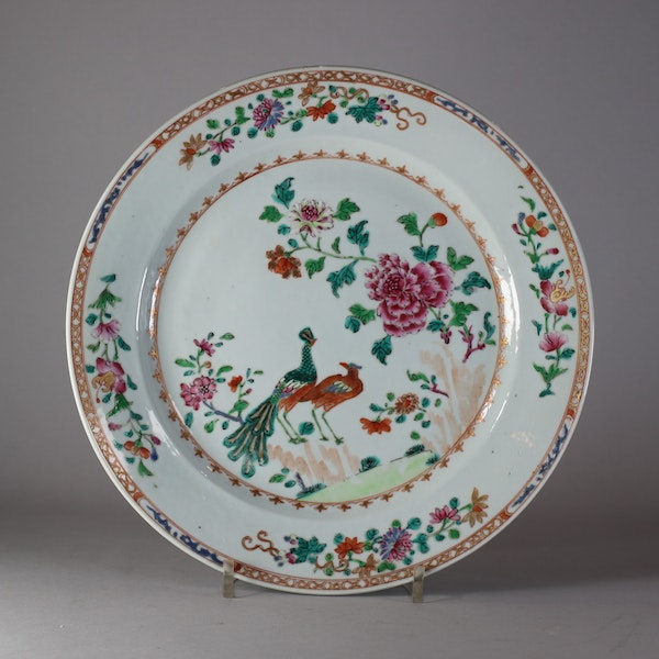 A Chinese famille rose 'Double peacock' dish, Qianlong (1736-1795) - image 1
