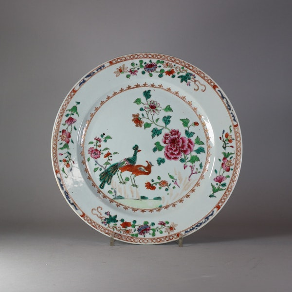 A Chinese famille rose 'Double peacock' dish, Qianlong (1736-1795), - image 1