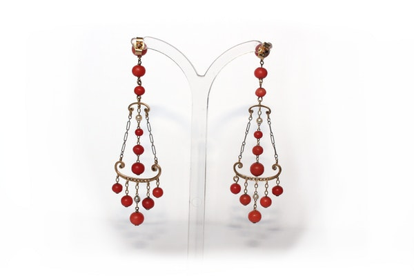 Coral, natural pearl diamond 1920s earrings - image 2