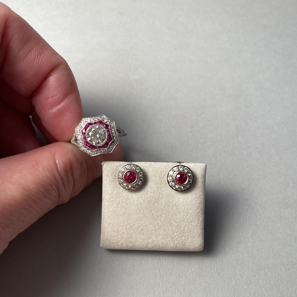 1970's, 18ct White/Yellow Gold Ruby & Diamond stone set Earrings, SHAPIRO & Co - image 7