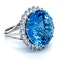Platinum 21.82ct Natural Aquamarine and 2.00ct Diamond Ring - image 5