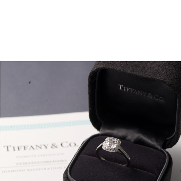 Diamond Ring in Platinum by TIFFANY & CO  0.91ct Diamond F-VS1 SHAPIRO & Co since1979 - image 1