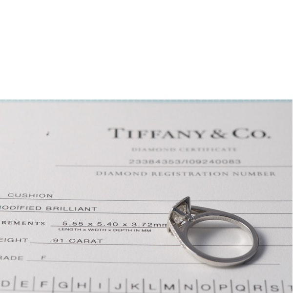 1980's, Cushion shape Diamond Platinum stone set Ring by Tiffany & Co,,,,,,,,,,,,,,, SHAPIRO & Co since1979 - image 3