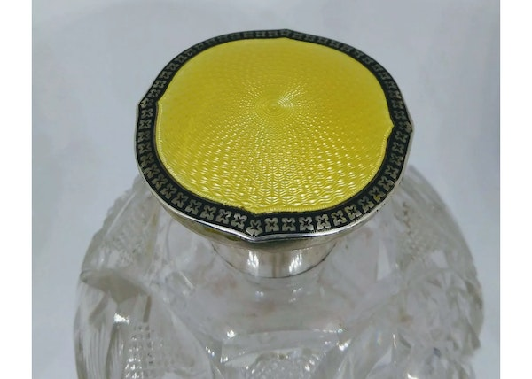 An antique enamel and silver English cologne bottle - image 2