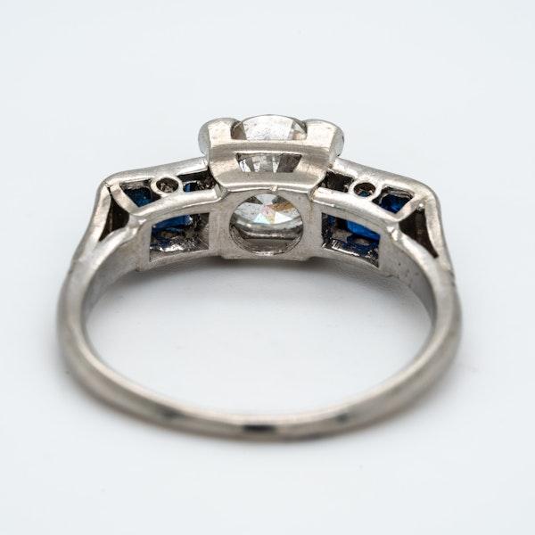 Art Deco 3 stone diamond and sapphire  ring - image 4