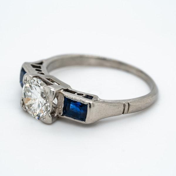 Art Deco 3 stone diamond and sapphire  ring - image 3