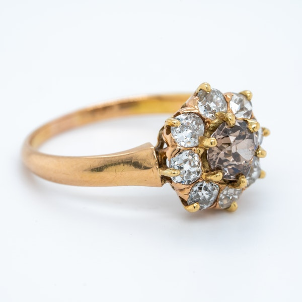 Diamond and fancy coloured diamond cluster ring - image 2