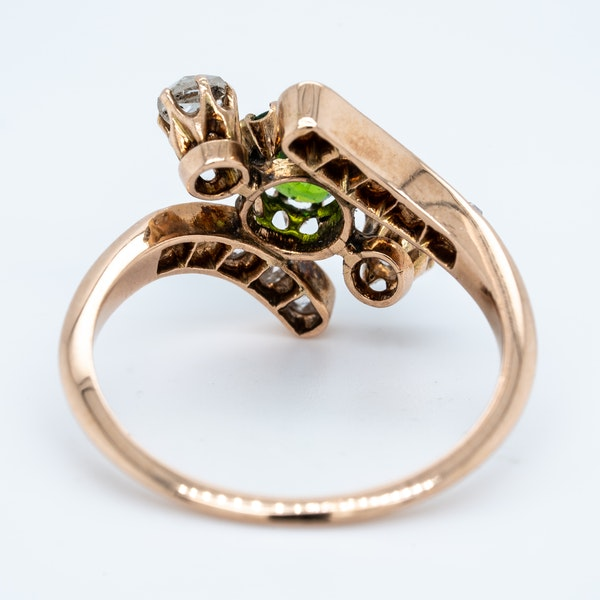 Demantoid green garnet and  diamond crossover ring. - image 4