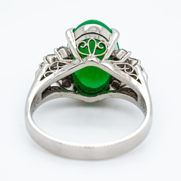 Jade and diamond baguettes ring with certificate - image 3