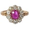 Antique Cluster Ring in 18 Carat Gold, Burma Ruby & Old Cut Brilliant Diamonds, English circa 1870. - image 1