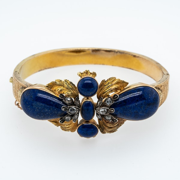 Victorian Lapis lazuli and diamond rose cut bangle - image 1