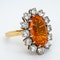 Fire opal and diamond oval cluster ring - image 2
