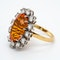 Fire opal and diamond oval cluster ring - image 3