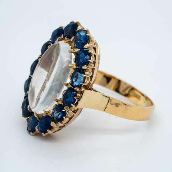 Moonstone and sapphire cluster ring - image 3