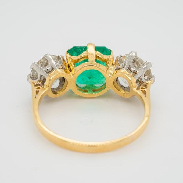 Emerald and diamond 3 stone ring - image 4