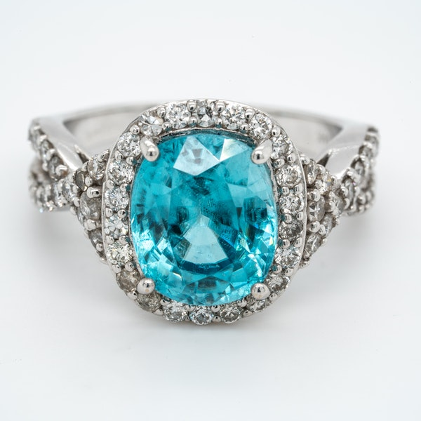 Blue Zircon and diamond cluster ring - image 1