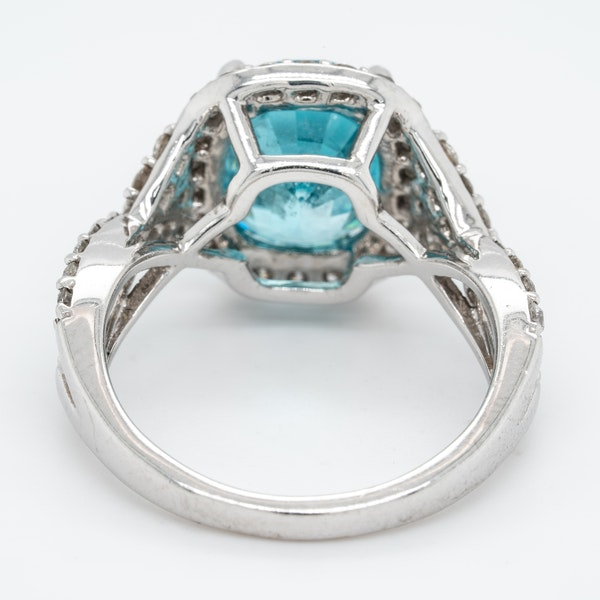 Blue Zircon and diamond cluster ring - image 4