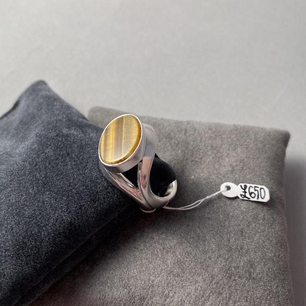 London 1983, Silver & Tigers Eye stone set Ring by Georg Jensen, SHAPIRO & Co - image 2