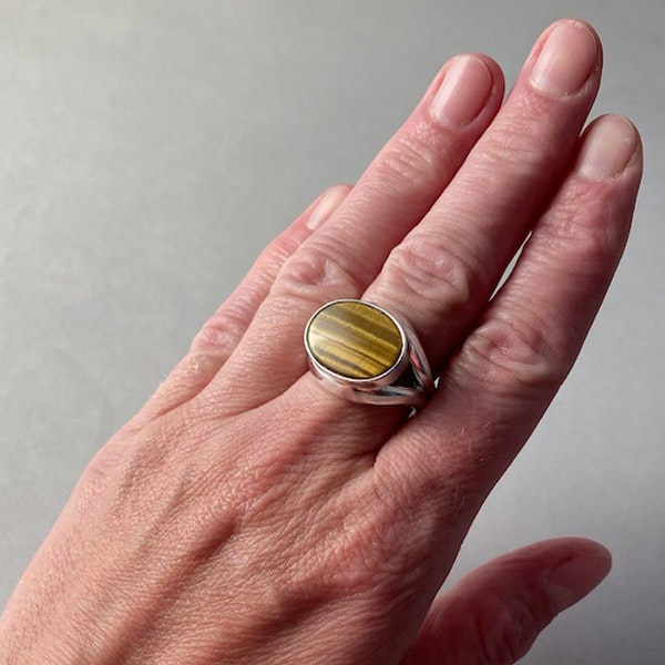 London 1983, Silver & Tigers Eye stone set Ring by Georg Jensen, SHAPIRO & Co - image 3