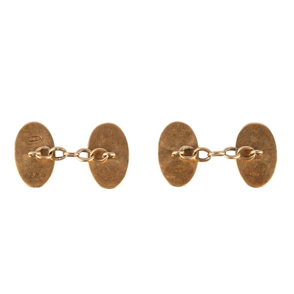 Antique 18 Carat Gold Classic Oval Cufflinks, English dated 1919. - image 3