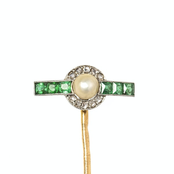 Antique T-Shaped Tie Pin in Gold with Natural Pearl, Diamonds and Emeralds, French circa 1900. - image 1