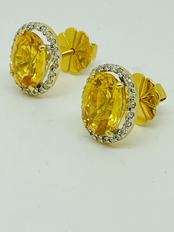 18K yellow gold, 7.16ct Natural Yellow Sapphire and 0.36ct Diamond Earrings - image 2